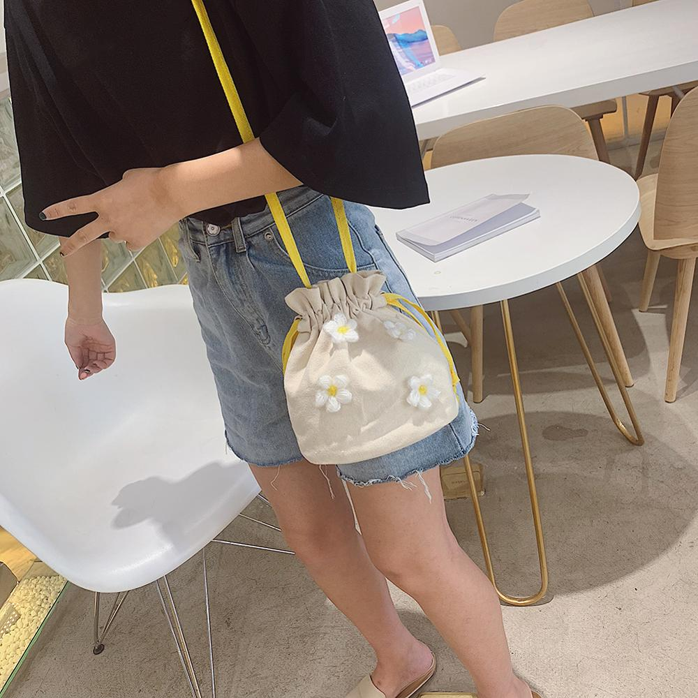 Buy Female Small Bucket Fashion Crossbody Bags Floral Decor Bag Women Shoulder Messenger Handbag Drawstring Canvas Bags For Girls for only 9.3 USD