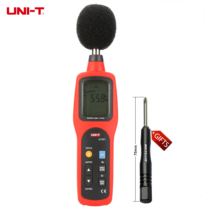 Digital Sound Level Meter dB Decibel Meter Noise Tester Measuring Instruments 30-130dB with LCD Backlight UNI-T UT351 ar824 noise meter sound level meter noise meter portable digital sound noise decibel meter
