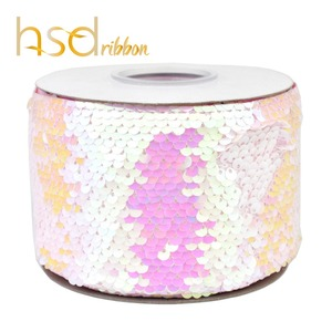 Image 5 - HSDRibbon 75mm 3 inch Shocking pink black colorful Sequin Fabric Reversible Glitter Sequin Ribbon 25Yards/Roll