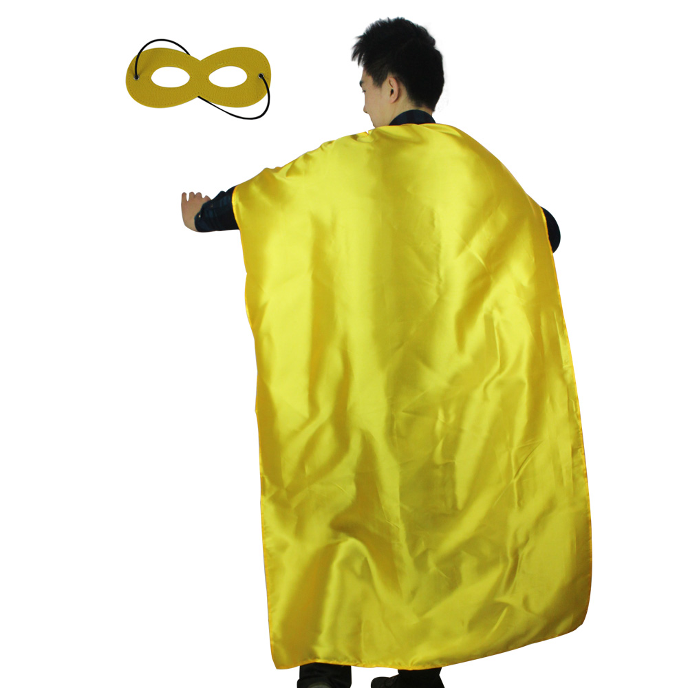 SPECIAL L 55* Adult Yellow Costume Cape Mask For Men Birthday Party Decoration Hero Costume Long Halloween Costumes Cape Gift