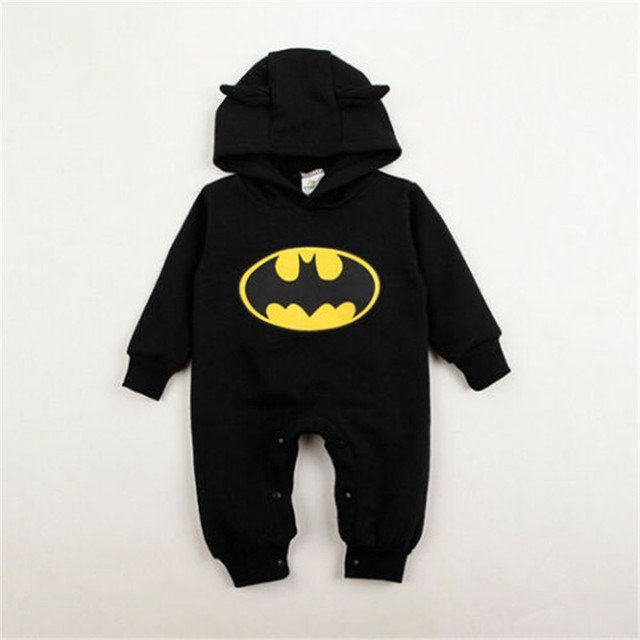 100% Cotton Fashion Cute Baby Kids Boys Batman Romper Hoodies Infant Clothes One-piece Outfits 3-24M