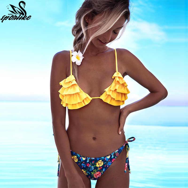 d81fc18340ced Hot Print women bikini set sexy Halter bathing suits swimwear Ruffles Push  up triangle swimsuits Beachwear