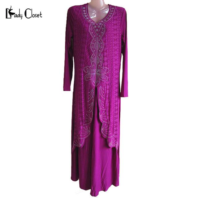 Falsos two-piece Mulheres Muçulmanas Abaya Vestido Islâmico Turco Mulher roupas de Algodão Puro roupas de Peru e Jilbab Abaya Rendas vestidos