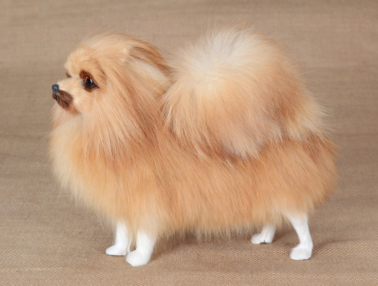 simulation Pomeranian dog model ,large 24x20cm plastic&furs standing dog handicraft home decoration toy Xmas gift w5722