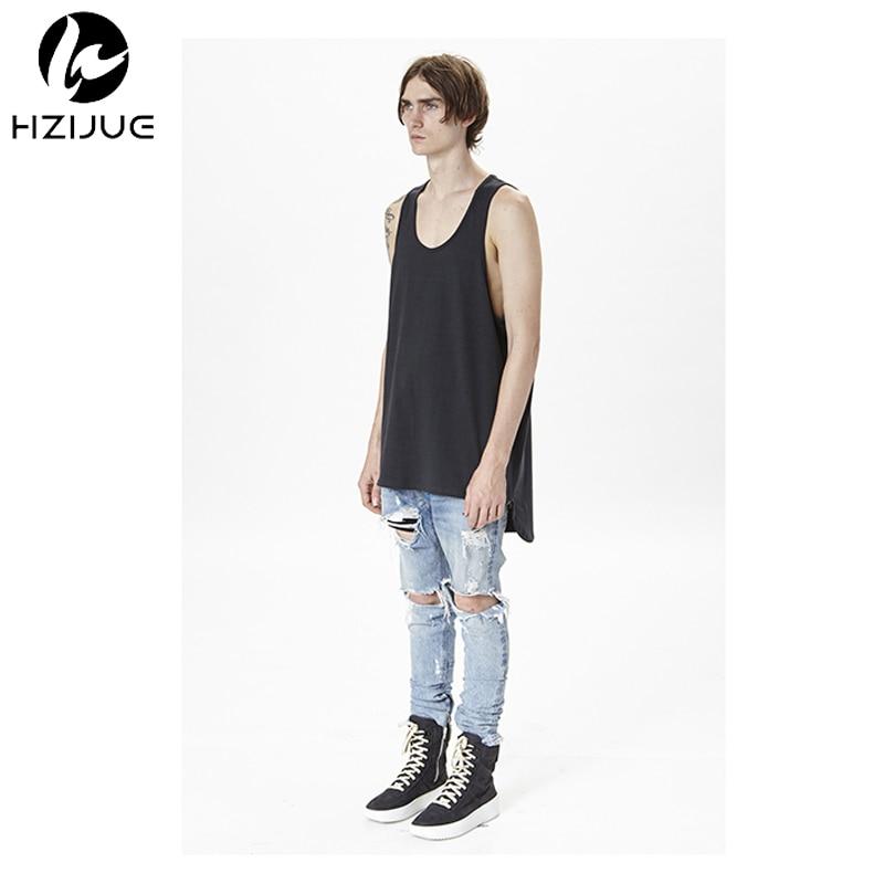 HZIJUE 2017 TOP OVERSIZE men's Tank Tops HIP HOP Fashion Casual kanye extended 100% cotton vest Black white Gray US SIZE