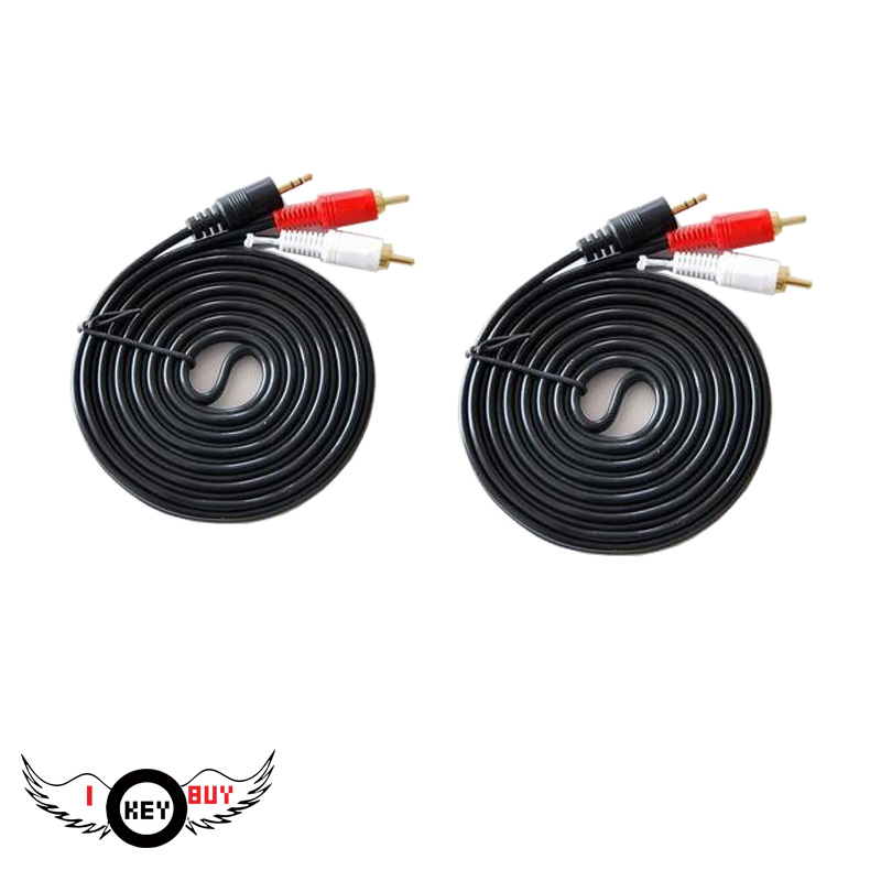 2PCS 1.5 Meters Per Second PVC Bare Copper PVC Audio Lotus Line 3.5mm To 2 Audio For Sound Card CD MP3 TV Speaker Amplifier Etc image