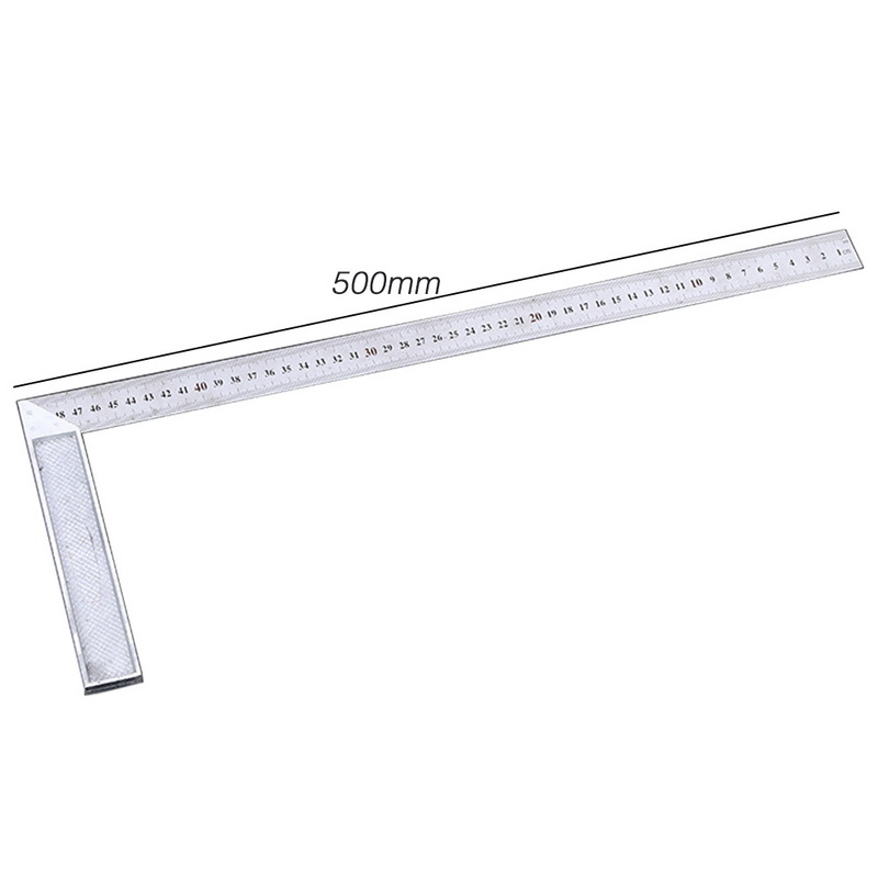 Urijk 50cm 90 Degree Metal Steel Try Square Engineers Wood Measuring Tool Right Angle Ruler Try Square Measuring Tool
