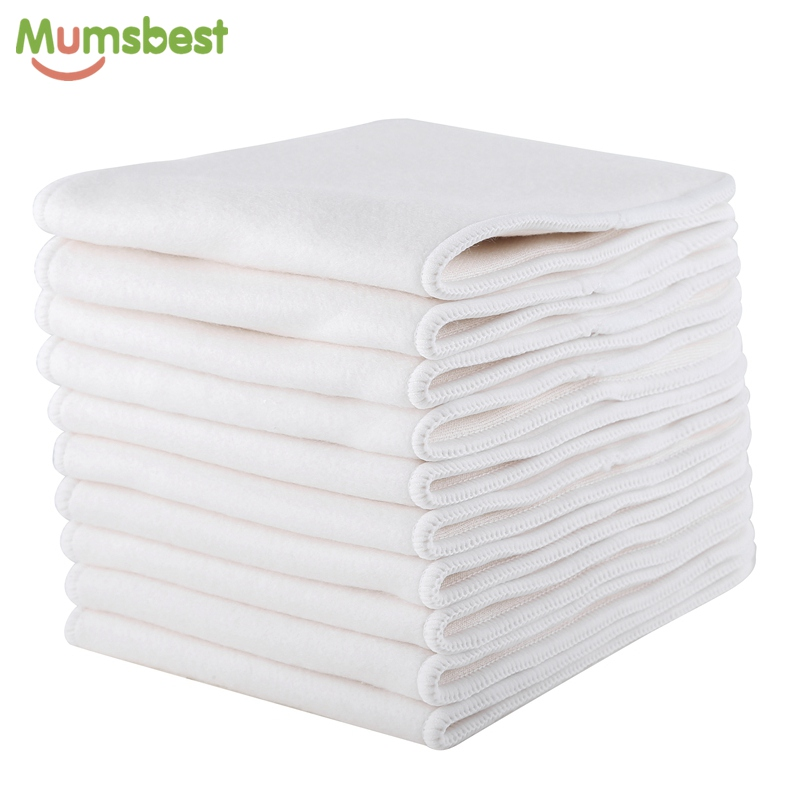 [Mumsbest]10pcs Bamboo & Cotton diapers Inserts 4 Layers Reusable Insert For Baby Cloth Diaper Babies Nappy Inserts Size:14x35CM