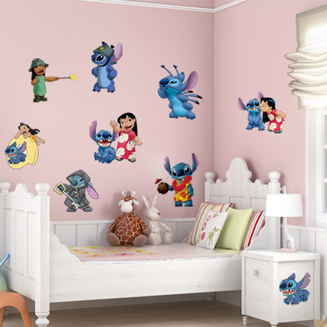 Cartoon Wall Stickers For Kids Rooms Lilo U0026 Stitch Wall Decal Green Vinyl  Stickers Waterproof Wallpaper