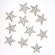 10Pcs Silver Star Embroidered Iron On Patch For Clothing Applique Badge Cool Jacket Stickers Apparel Craft DIY Accessory(China)