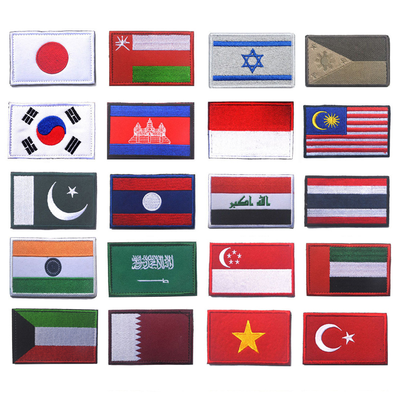 Asian Israel Japan Singapore Turkey India Indonesia Cambodia Qatar Oman UAE Iraq North Korea Kazakhstan Flag Embroidery Patches image