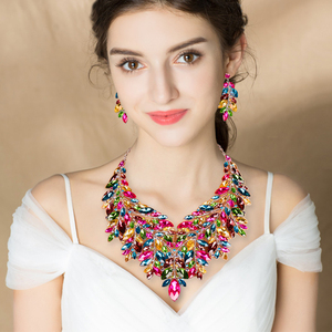 Image 5 - Luxury Big Crystal Statement Necklace Earrings Dubai Jewelry Sets Indian Bridal Wedding Party Womens Fashion Costume Jewellery