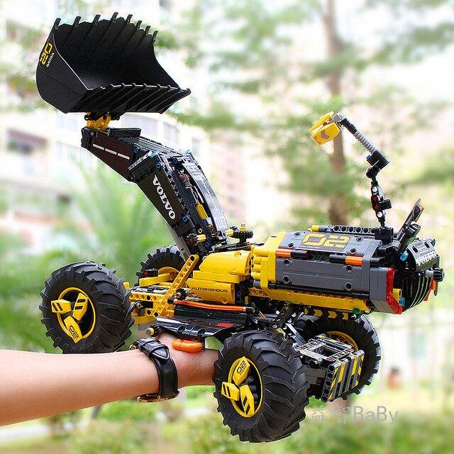 DECOOL טכני משאית 3380 מחפר גלגל מטעין ZEUX אבני בניין לילדי מתנות תואם עם 42081