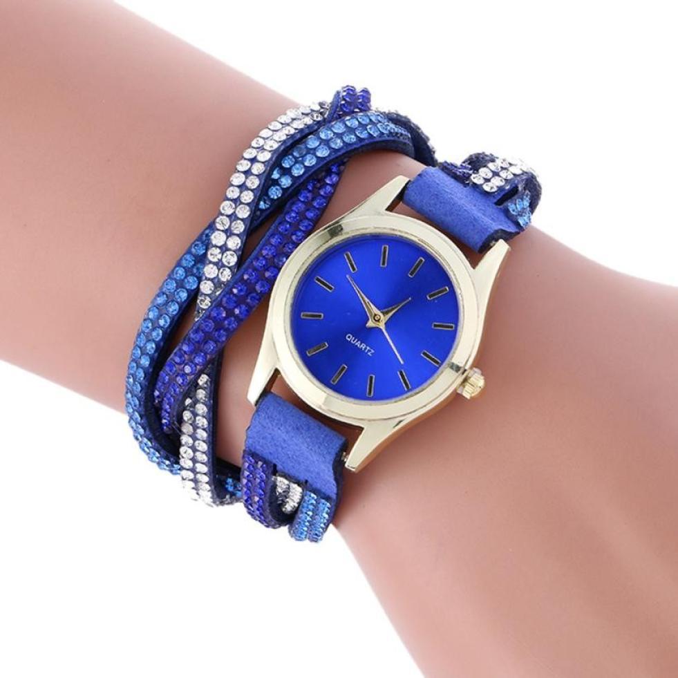 Wrap Around Fashion Leather Bracelet Lady Womans Wrist Watch Crystal Women Dress Watches relogio feminino Clock
