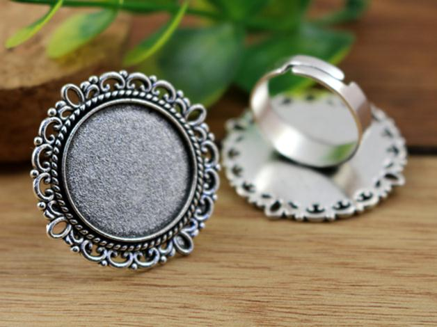 20mm 5pcs Antique Silver Plated Brass Adjustable Ring Settings Blank/Base,Fit 20mm Glass Cabochons,Buttons;Ring Bezels -K3-1120mm 5pcs Antique Silver Plated Brass Adjustable Ring Settings Blank/Base,Fit 20mm Glass Cabochons,Buttons;Ring Bezels -K3-11