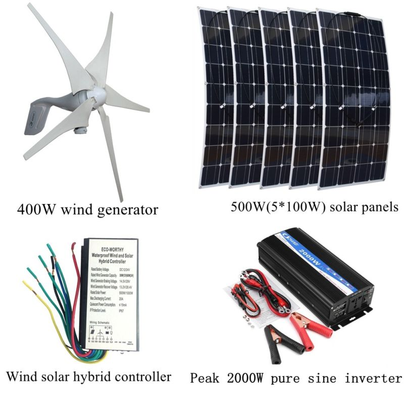 400W Wind Generator +5*100W Solar Panels+Peak 2000W Inverter+12V/24V Controller Houseuse Wind Solar 900W Solar System 6pcs 100w flexible solar modules 400w vertical wind generator with 4000w inverter and controllers 1000w wind solar power system