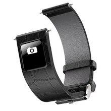 20/22 milímetros Correias Fivela De Prata Em Aço Inoxidável Pulseira de Couro Faixa de Relógio Inteligente Bluetooth 4.0 Pulseira Smartband Call Reminder