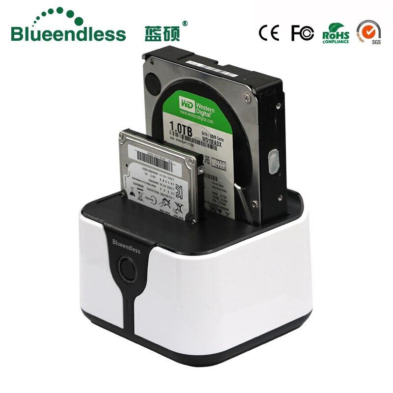 2-bay hdd boîte 3.5 sata à usb 3.0 station d'accueil pour disque dur externe hdd cas 6 Gbps en plastique 2.5 pour 7-12.5mm disque dur cas hd externo