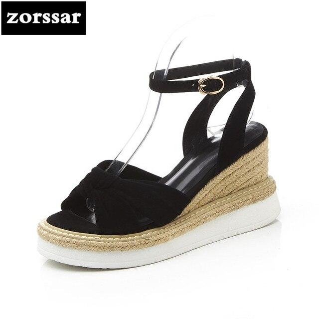 29d97c96d4c2 {Zorssar}/2018 г.; замшевые женские босоножки на танкетке; модная летняя  обувь; туфли ...
