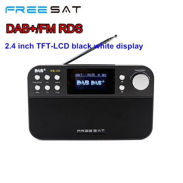 Freesat DR-103 DAB+FM RDS Portable Digital Radio 2.4 TFT LCD Black White Display Support DAB+FM RDS Wavebands Radio gtmedia dr 103b dab bluetooth receiver portable digital dab fm stereo radio receptor with 2 4 inch tft color display alarm clock