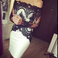 White And Black Lace Knee Length Custom Cocktail Dresses With Long Sleeves Boat Neck Short Party Dress Gowns 2018 New Fashion
