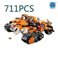 711pcs Tiger's Mobile Command Amazing Fascinating Model Building Blocks Toys Gift for Boys Compatible Lepins figures toys