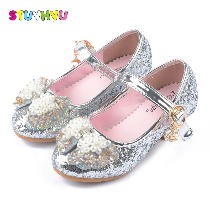 Silver High Heels For Kids 2018 New Girls Princess Shoes 3-12 Years Old Children Pearl Bow tie Sequin Dance Shoes Pink Blue Gold