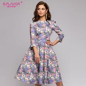 Image 2 - S,FLAVOR Women Summer Midi Dress Hot Sale Elegant Printing A line Dress For Female O neck Long sleeve Vintage Casual Vestidos