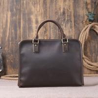 100% Top GENUINE LEATHER Cowhide Business Messenger Shoulder Casual Men's Bags Portable Briefcase Laptop Casual Purse