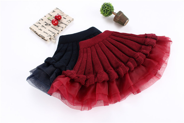Children's Winter Clothes Kids Lace Laciness  Pleated Girls Mini Tutu Skirts Spring Autumn Skirts 2 Style 4-8y