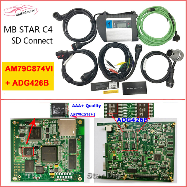 Cheap Customized MB STAR C4 with ADG426B Chip Stable and Professional Diagnostic Tool OBD Scanner SD Connect C4 with Software HDD/SSD