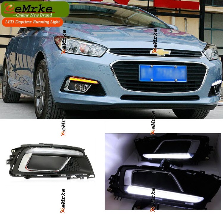 eeMrke Car LED DRL For Chevy Chevrolet Cruze J400 High Power Xenon White Fog Cover Daytime Running Lights Kits  недорого