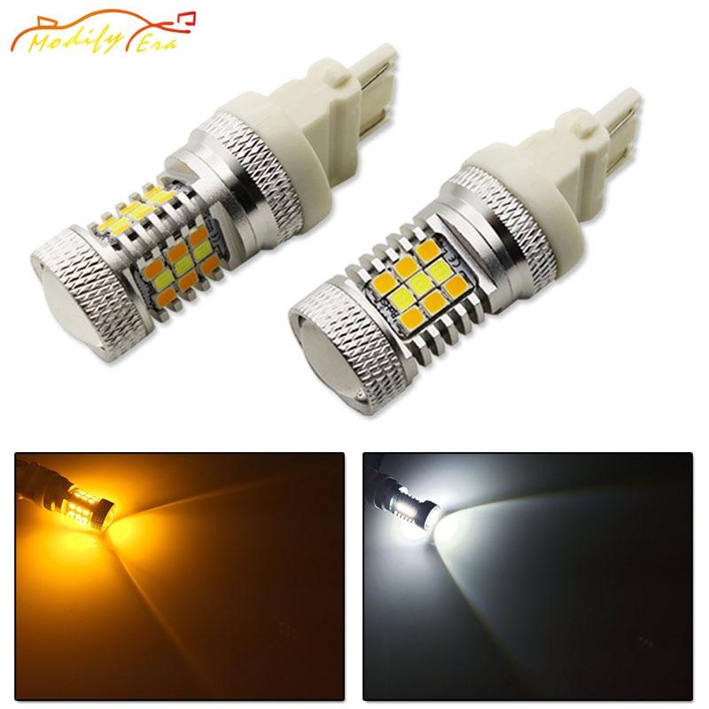 Modify.Era 2pcs 3157 3357 3457 Car LED Bulbs For DRL Turn Signal Lights Dual-Color Switchback 31-SMD High Power Auto Led Lights