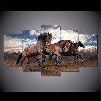 뜨거운 판매 5 개 실행 말 인쇄 캔버스 그림 거실 벽 아트 동물 프레