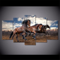 Hot Selling 5 Pieces Running Horses Printed Canvas Painting Living Room Wall Art Animal Pictures No