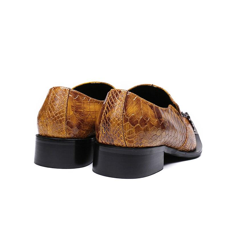 on Toe Deificação As Flats Luxo Couro Pointy Sapatas Pic Sapatos Vestido Homens Da Slip Os De Moda Para Marrom Formais Dos Metal Negócios qt47grnAt