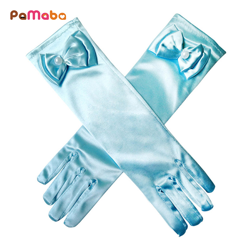 PaMaBa Girls Princess Cosplay Accessories Gloves Solid Long Gloves With Bow Princess Belle Elsa Sofia Cinderella Satin Gloves muababy children braid girls elsa anna rapunzel sofia cinderella accessories kids party cosplay hairpiece wig gloves 2 pcs sets