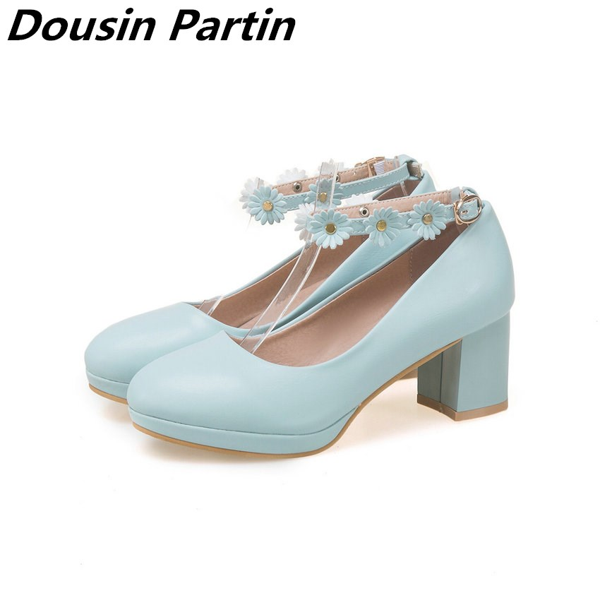 Dousin Partin 2018 Women Pumps Pink Solid Fashion Round Toe Square High Heel Cute Casual Pu Leather Fashion Girl Pumps N8452631-in Women's Pumps from Shoes    1