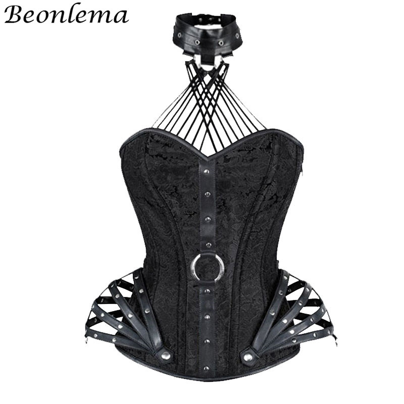 Beonlema Punk Rave   Corset   And   Bustiers   Faux leather Belt Neck Choker Gothic Woman Clothes Halter Steel Boned Overbust Korsett