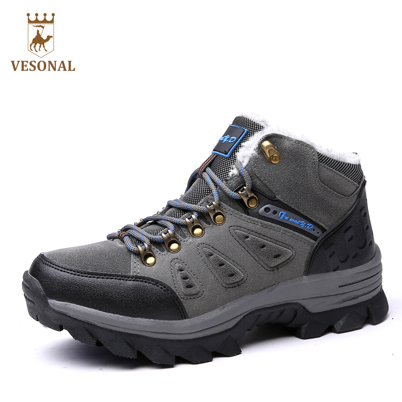 VESONAL Brand Winter Fur Warm Snow Boots Men Shoes Male Adult Couples Casual Ankle <font><b>Rubber</b></font> Non Slip Lovers Boot Big Size 45 46 47