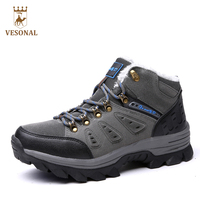 VESONAL Brand Winter Fur Warm Snow Boots Men Shoes Male Adult Couples Casual Ankle Rubber Non