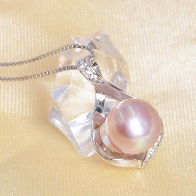 ASHIQI натуральный пресноводный жемчуг ожерелье и кулоны 925 пробы серебро 9-10 мм жемчужные ювелирные изделия