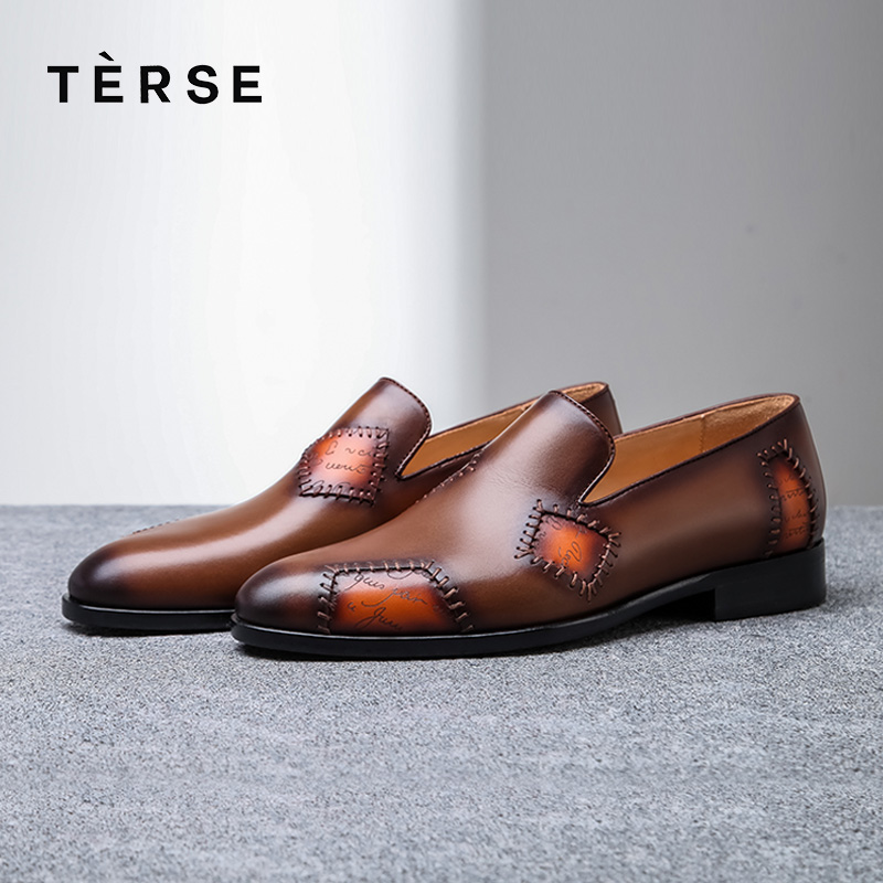 TERSE_2018 Fashion Luxury Men Flat Shoes Italian Genuine Leather Handmade Business Dress Shoes Patch Footwear Blue Color 1515-8