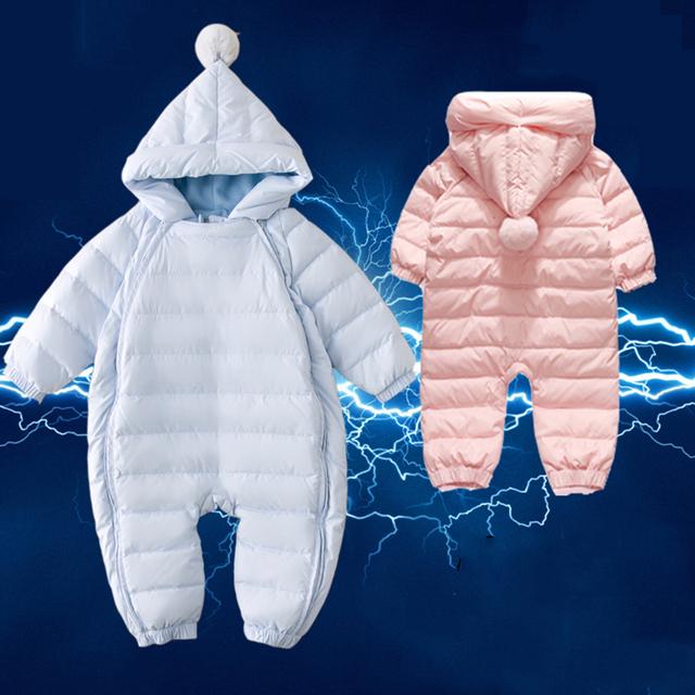 Bebê snowsuit 2016 nova inverno casacos com capuz roupas infantis da menina do menino macacão bebê recém-nascido térmica neve desgaste da roupa do bebê