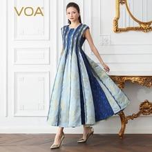 VOA Runway Silk Party Dress Maxi Long Pleated Dresses Women High Waist Slim Plus Size 5XL Summer jurken haut femme sukienka A613