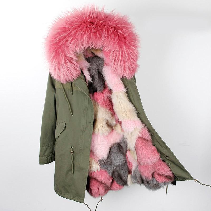 winter jacket brand style silver army green Large raccoon fur collar coat parkas outwear long detachable fox fur lining Hooded
