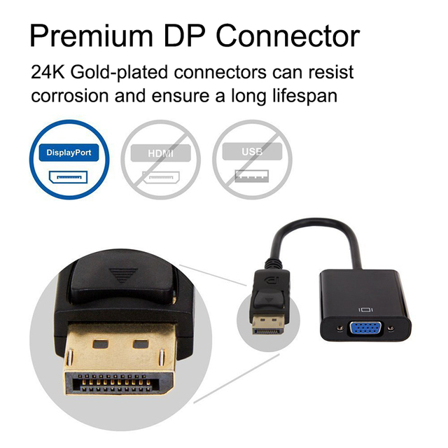 Display Port To VGA Adapter 1080p