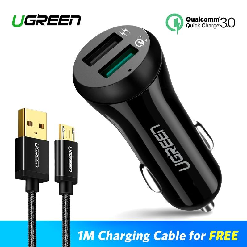 Ugreen 3A Auto Ladegerät 18 watt Quick Charge 3,0 Auto-Ladegerät mit Ladekabel Schnelle Dual USB Handy auto Ladegerät Schnell Ladegerät