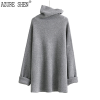 AZURE SHEN 2017 Europe New Autumn Winter Casual Loose Solid Color Turtleneck Women Sweater Batwing