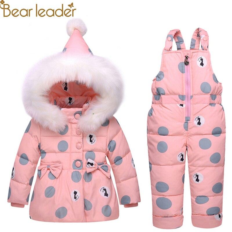 Bear Leader Kids Sets Baby Winter Down Jacket Set Pants Jacket Outside Parka Hoodies Outerwear Suits
